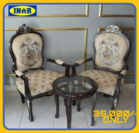 Bedroom Chair Sets w/ Coffee Tables & Divans in Rose Wood Sheesham