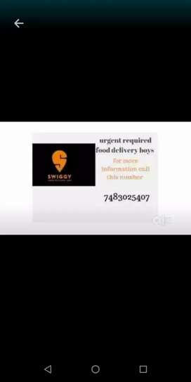 Wanted delivery boys for swiggy