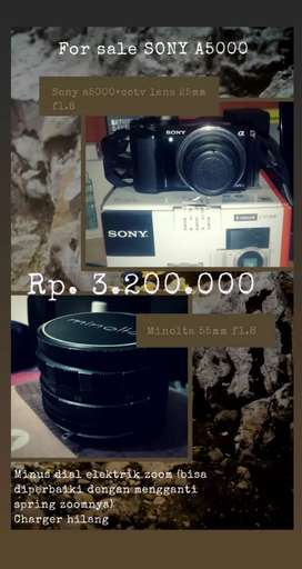Sony a5000+minolta 55mm f1.8 dan cctv lens 25mm f1.8 (tanpa lensa kit)