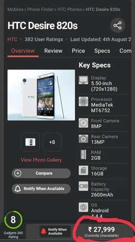 HTC DESIRE 820s dual sim 2gb ram 16 gb internal