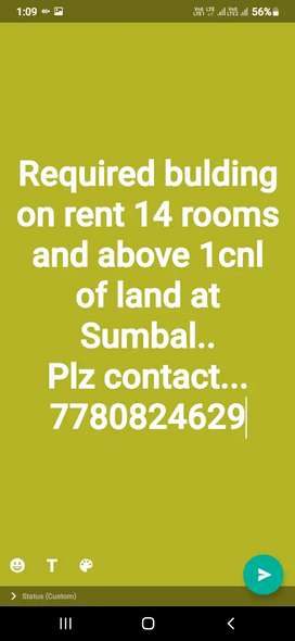 Urgent need Full bulding on rent with land of 2cnls