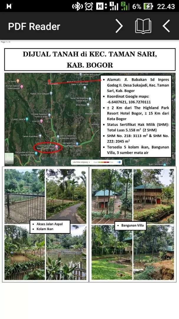 Tanah 5185 meter tamansari bogor kabupaten 0