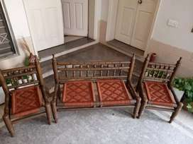 Antique pure wood culture pirre chair set