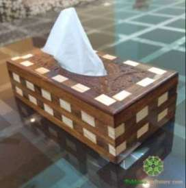 Hand Carved Full Size Tissue Box with Checkbox Pattern