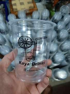 Sablon gelas plastik dengan logo anda CUP PP 12oz 8gram