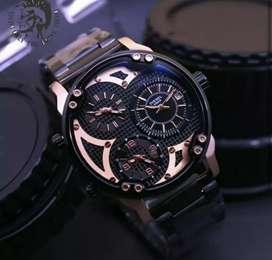jam tangan diesel 42mm 3 time on black rose gold rantai krepyak