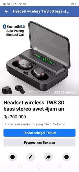 Headset TWS wireless Stereo Bass paling laku keras New