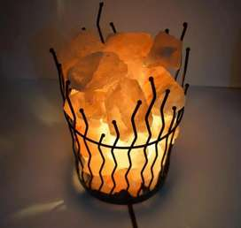 HIMALAYAN SALT ROCKS WITH METAL BASKET | BULB AND SWITCH INCLUDED |