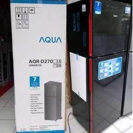 LEMARI ES 2 PINTU AQUA JAPAN AQR-D270(DS) 220 Liter
