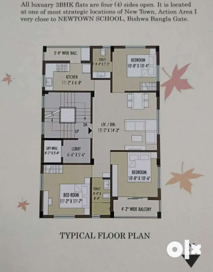 1480sq-ft free hold 3bhk with cover Car parking 58lacs, Newtown. 0