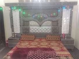 Fancy  taaj bed  & dressing with  LED light