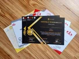 Cetak Certificate & Penghargaan (Gratis Desain)