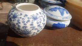 Pajangan antik keramik poslen 3pc biru putih