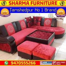 Red velvet colour L Shape Sofa Set Ad I'd (v12-5)