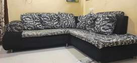 Velvet 6 seater sofa with hand rester