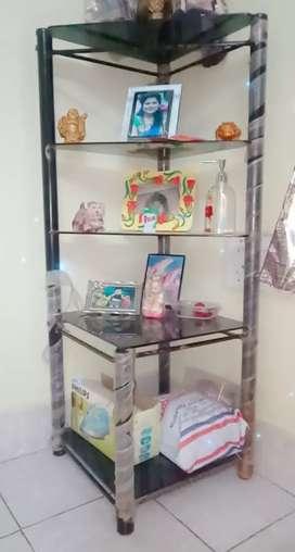 fine black glass decorative showcase