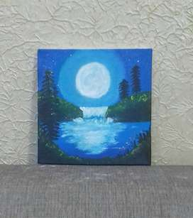 Moonlight Waterfall Scenary | Acrylic Painting