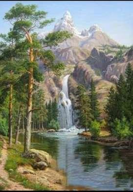 lukisan kanvas pegunungan dengan air terjun