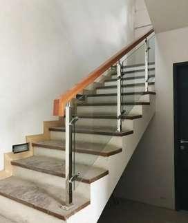Railing tangga stainles kaca dan balkon kaca #4989