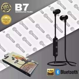 Headset Bluetooth Pinzy B7 Suara Bass + Batteray Awet