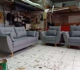 Sofa set VINTAGE new abu-abu minimalis kain baldu.