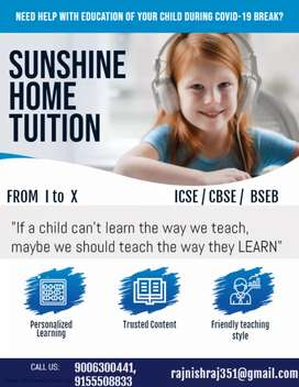 SUNSHINE HOME TUITION. Call experienced teacher at your home