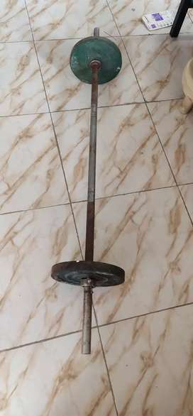 Weight lifting rod with Plate