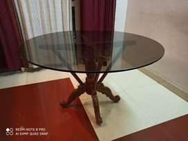 Teak wood circular dining table for 4 persons