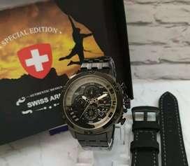 jam tangan swiss armya full black rose gold 3 chrono on fullset