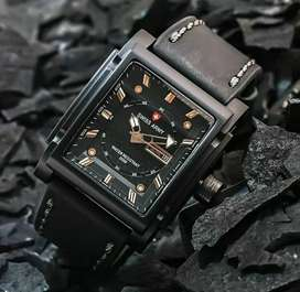 jam tangan swiss army full black kotak daydate on