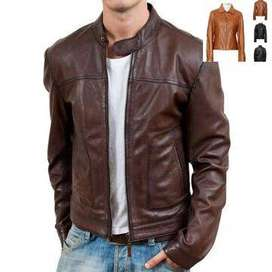 MENS BROWN SLIM FIT WAX CLASSIC SOFT LEATHER JACKET