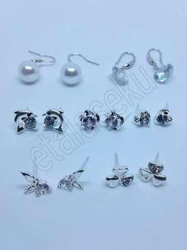 Anting anting wanita silver hooks studs earrings 1 pcs