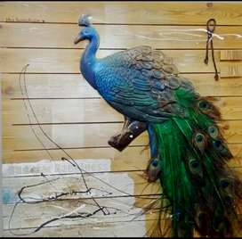 Peacock Painting on Wooden Planks