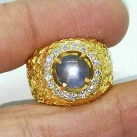 Srilangka NH 4.25 CT Star Blue Sapphire Ceylon Silver Ring Handmade