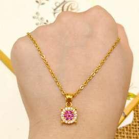 Kalung Liontin Pink Diamond Jewellery Necklace Gold Toko Emas asli