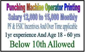 Below 10th Allowed 1 yr experience Machine Operator