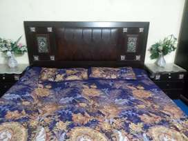Beautiful double bed set with side tables and dressing table