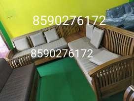 Factory sale- Nilambur teak 6 seat corner setty