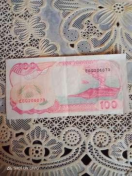 Uang kertas merah seratus rupiah tahun 1992