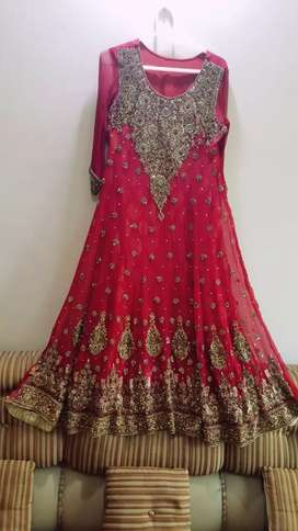 Red maxi with shampain color embroidery