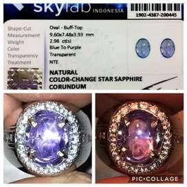 Cincin Natural Color Change Star Sapphire / Safir 2 Warna