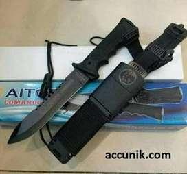 Pisau belati sangkur comando hitam survival kit
