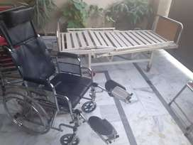 Patient bed and wheel chair