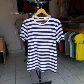 Kaos Stripe Biru dg warna dasar putih