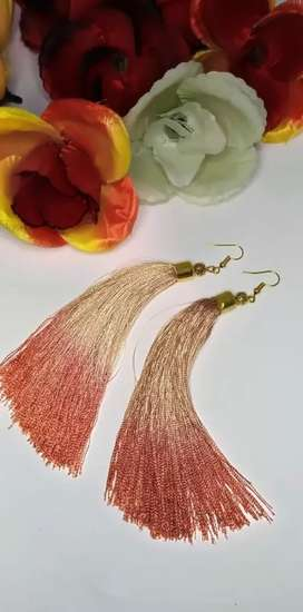 Silk thread earrings(light brown and tea pink)