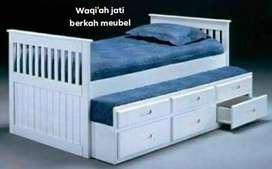 Tempat tidur anak dorong modern 120x200, bahan kayu jati terbaik