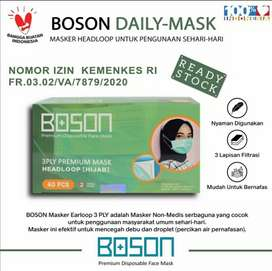 MASKER HIJAB BOSON 3 PLY ISI 40/BOX KUALITAS PREMIUM