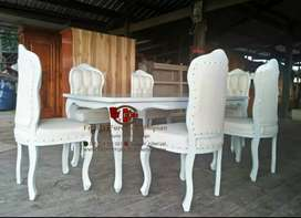 Kursi makan satu set full white