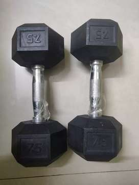 RUBX rubber coated  exercise hex dumbell(pack of 2) -7.5 kgs
