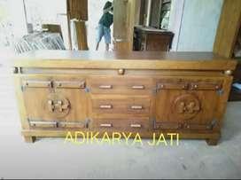 Bufet tv antik gerobok  bahan kayu jati..